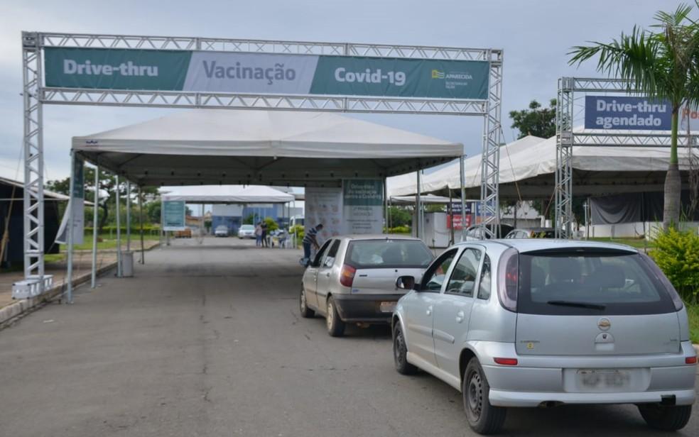 Vacinação drive-thru contra Covid-19 em Aparecida de Goiânia — Foto: Prefeitura de Aparecida de Goiânia/Divulgação