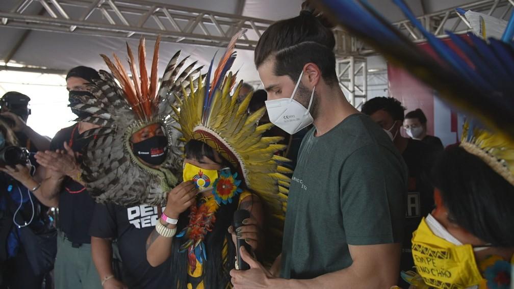 DJ Alok esteve em Brasília durante os protestos dos grupos indígenas contra o marco temporal na última semana — Foto: Profissão Repórter