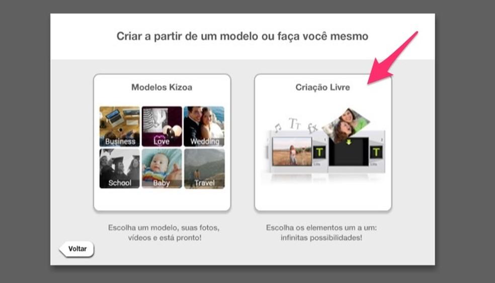 Ação para definir a escolha por criar um vídeo em criação livre no serviço online Kizoa — Foto: Reprodução/Marvin Costa