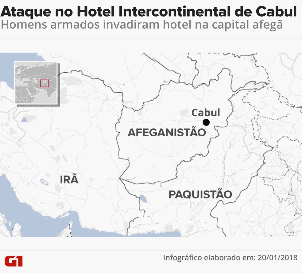 Ataque no Hotel Intercontinental de Cabul (Foto: Roberta Jaworski/G1)