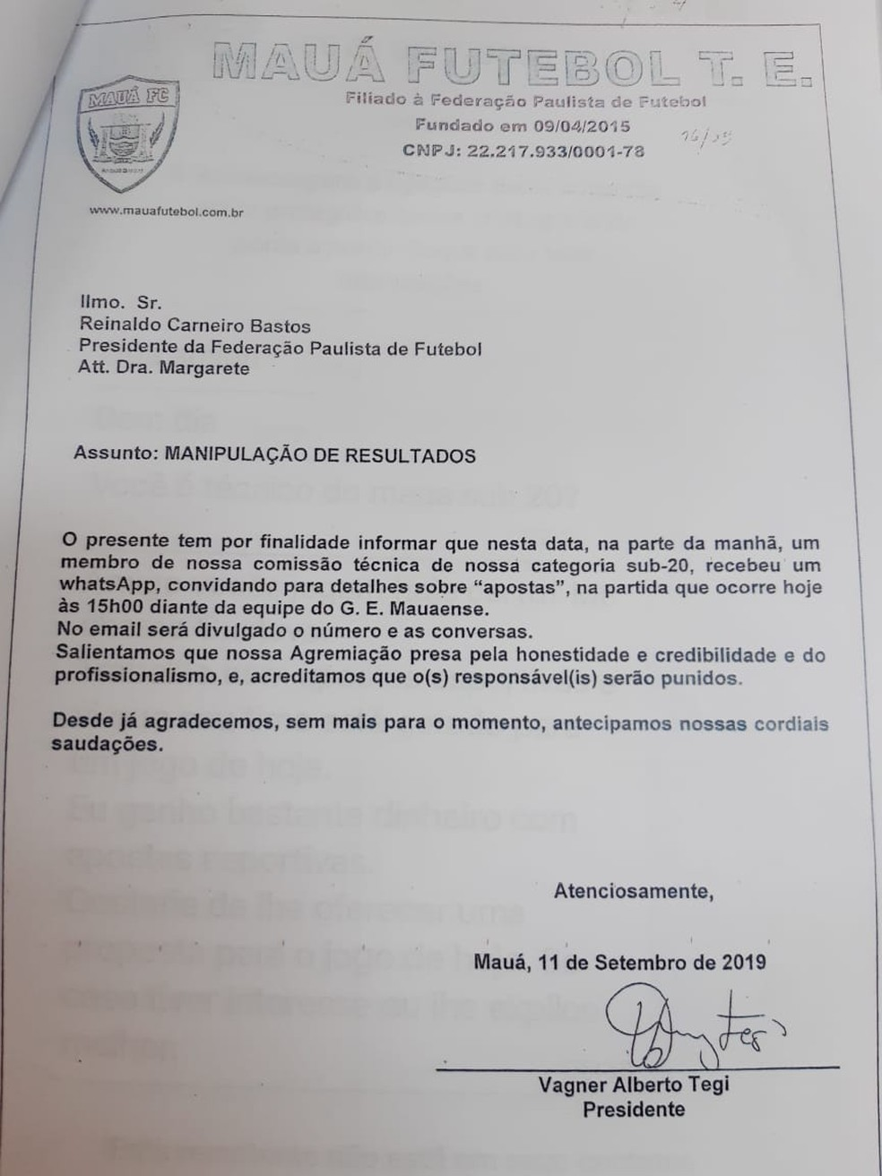 Denúncia feita à FPF de tentativa de manipulação feita pelo Mauá Futebol Clube — Foto: Vicente Seda