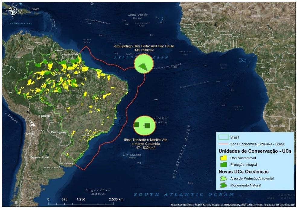 Mapa mostra as duas maiores reservas marinhas do país, criadas nos arquipélagos de Trindade e Martin Vaz e São Pedro e São Paulo (Foto: Governo Federal)
