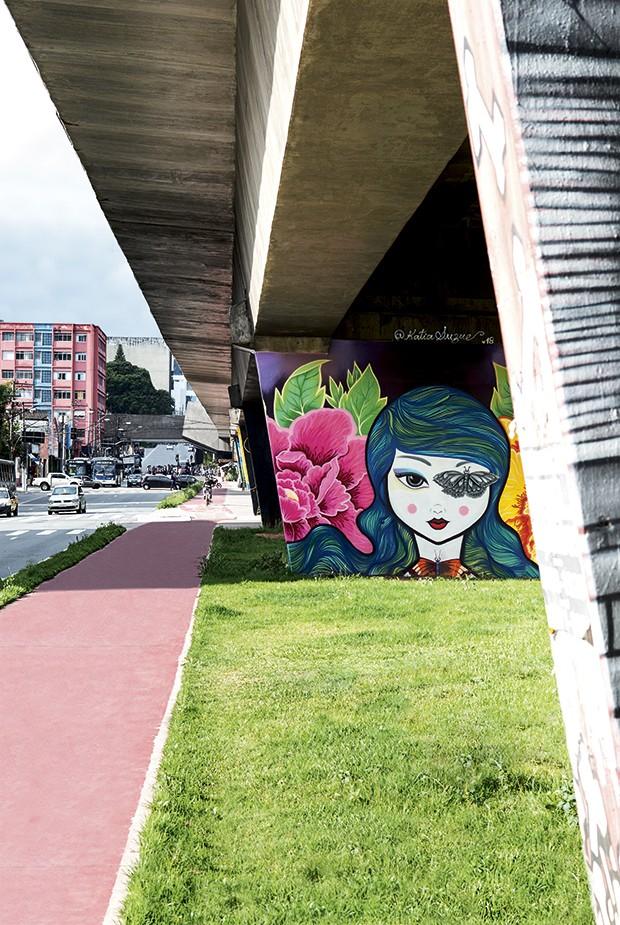 Obra de Katia Suzue na avenida Cruzeiro do Sul, Todas em São Paulo  (Foto: Fabiano Rodrigues)