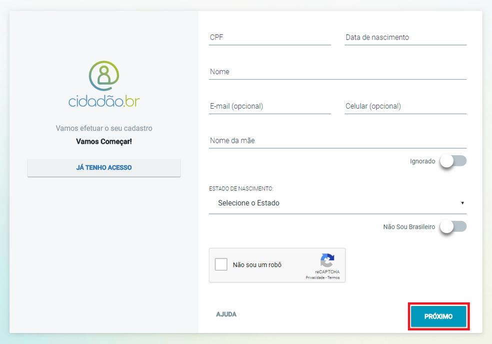 Informe seus dados pessoais para se cadastrar no cidadão.br (Foto: Reprodução/Meu INSS)