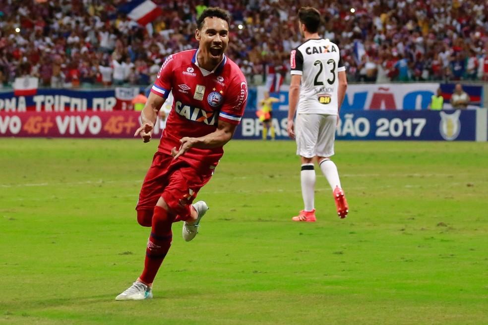 Edigar Junio marcou os dois gols do Bahia (Foto: Marcelo Malaquias/Divulgação/EC Bahia)