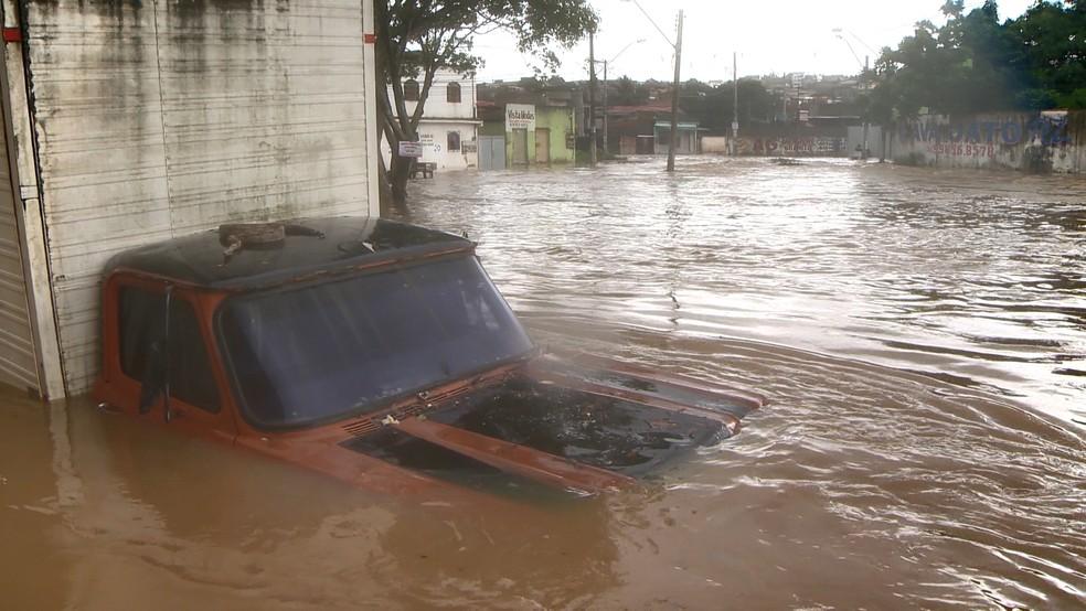 Jiboia é encontrada em cima de caminhão alagado na Serra — Foto: Reprodução/ TV Gazeta