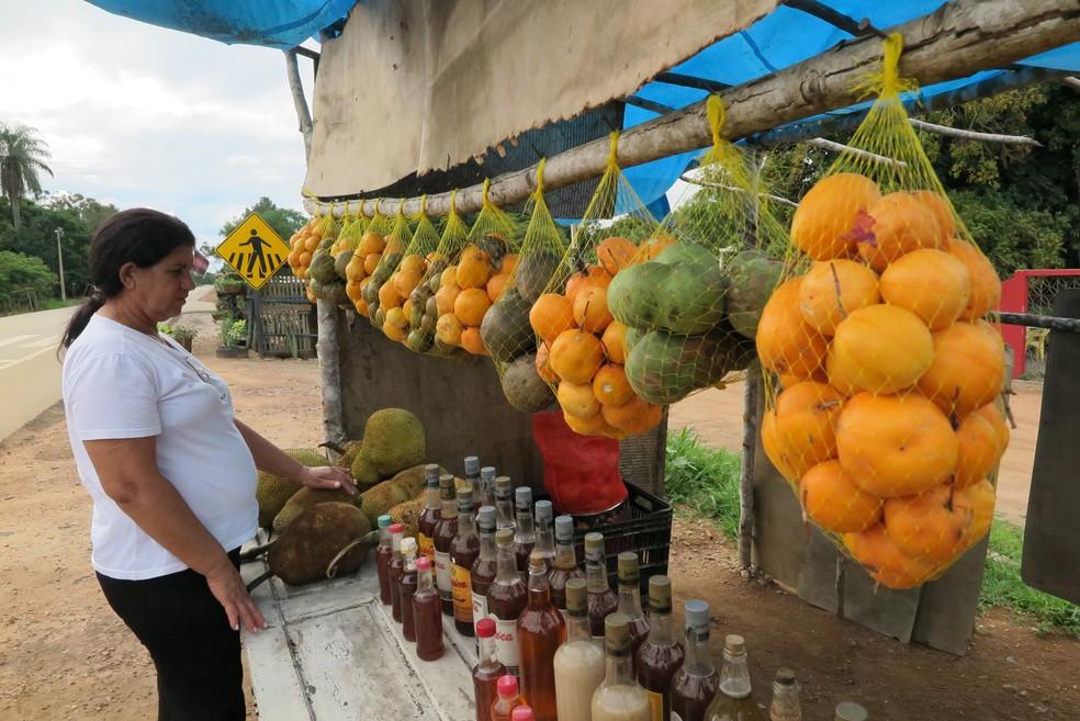 Na beira da rodovia, catadores vendem maracujá peroba, pequi, leite da janaguba e outros produtos colhidos na Chapada do Araripe — Foto: Antonio Rodrigues/SVM