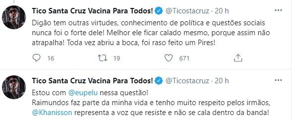 Tico Santa Cruz critica Digão e defende Pe Lu (Foto: Reprodução: Twitter)