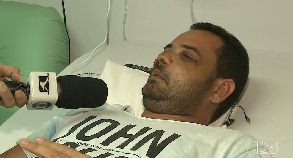 Anderson Pereira da Silva foi espancado pelo policial militar Eduardo da Luz Soares em São Luís — Foto: Reprodução/TV Mirante