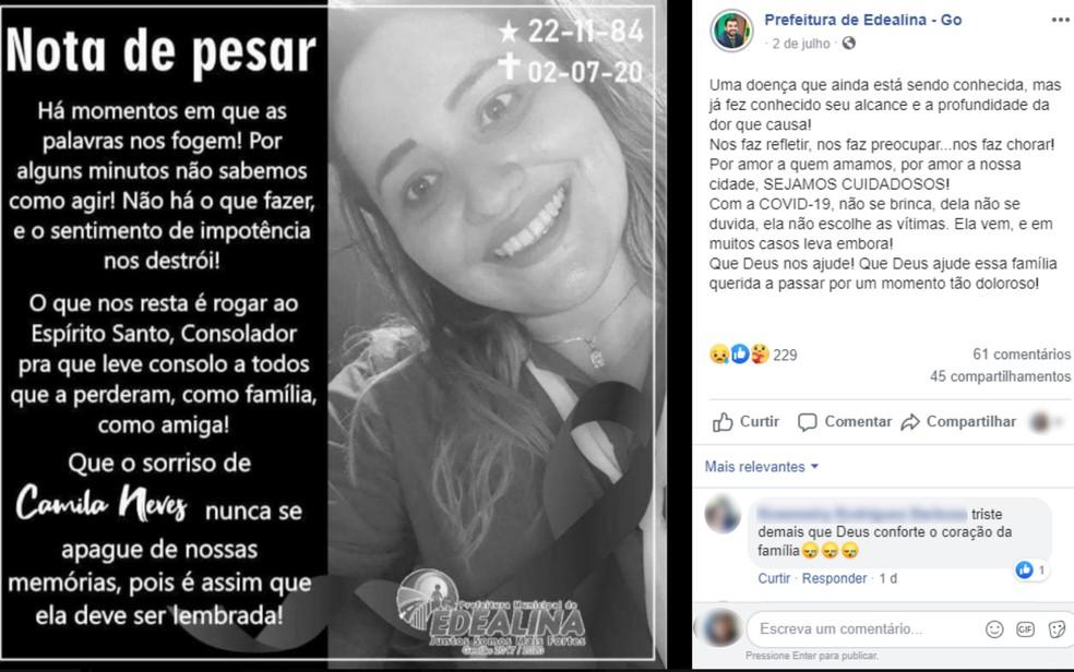 Camila Neves, 35, é homenageada pela Prefeitura de Edealina após morrer vítima da Covid-19 — Foto: Reprodução/Facebook
