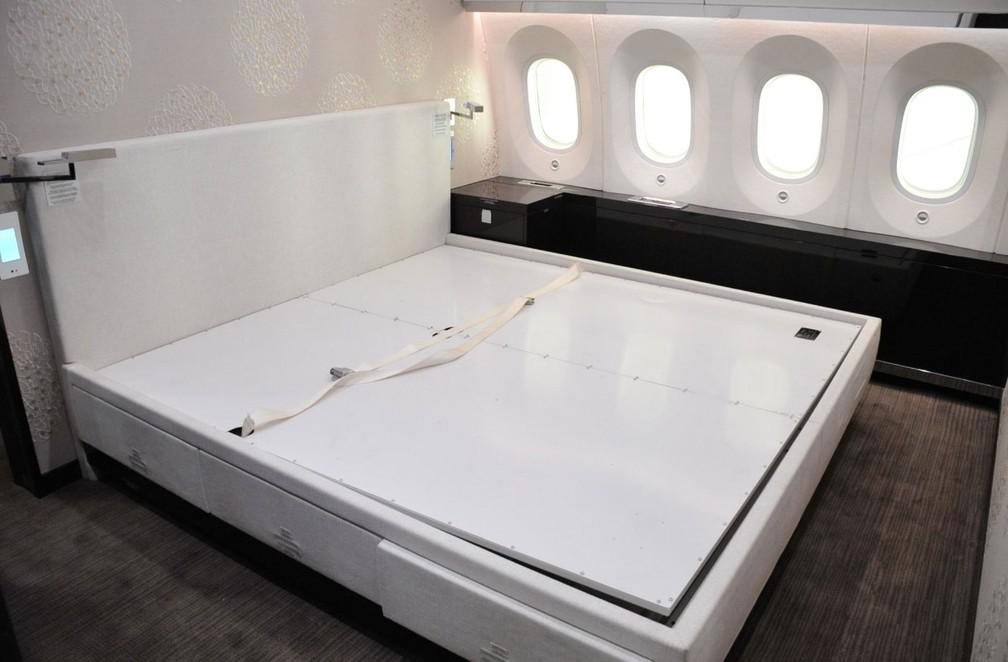Avião presidencial mexicano tem quarto com cama — Foto: Reprodução/ Twitter/ SHCP México