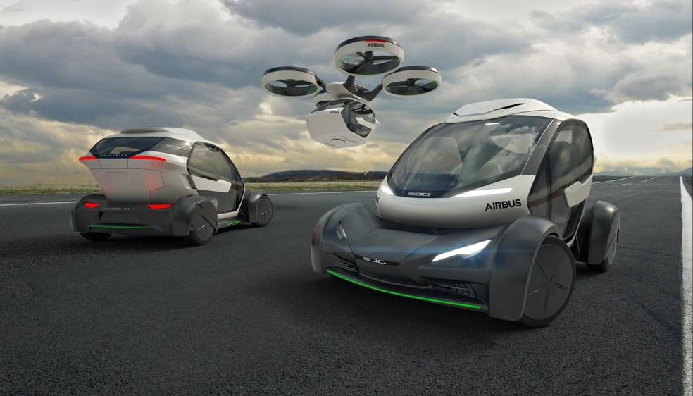 Cabine para dois passageiros pode ser acoplada em drone ou em chassi de carro (Foto: Divulgação/Airbus)