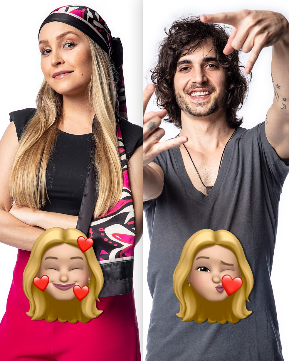 Carla Diaz e Fiuk recebem emojis de Kerline — Foto: Globo