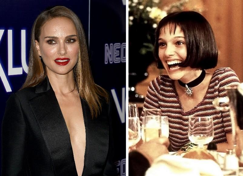 A atriz Natalie Portman, hoje aos 37 anos e aos 13 anos em cena de O Profissional (1994) (Foto: Getty Images/Reprodução)