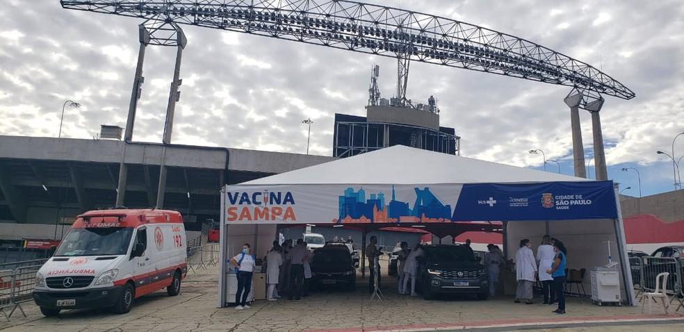 Estádio do Morumbi é ponto de vacinação contra Covid-19 em São Paulo — Foto: Reprodução/Twitter