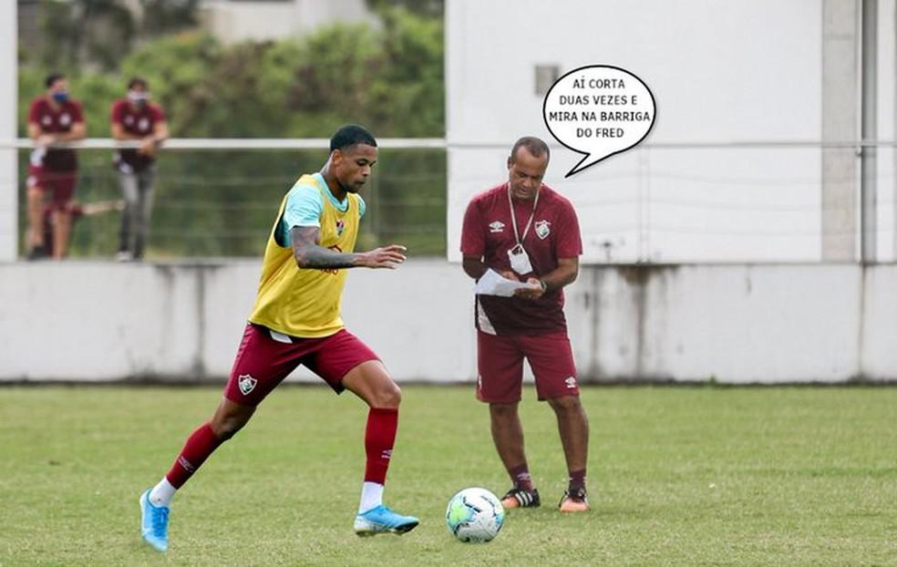 """Ailton """"ensina"""" Caio Paulista em meme na internet — Foto: Divulgação"""