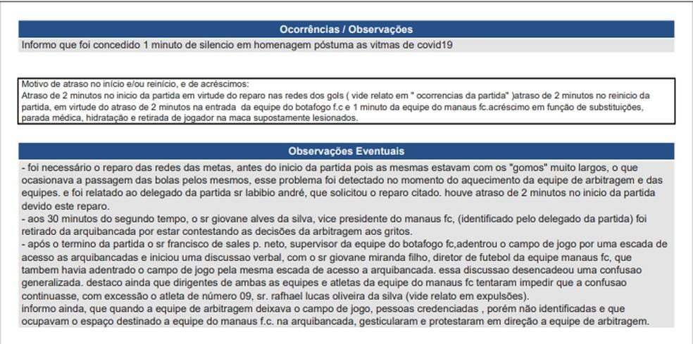 Súmula de Manaus x Botafogo-PB — Foto: Reprodução/CBF
