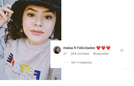 Maisa Silva deixou seus votos de felicidade Reprodução