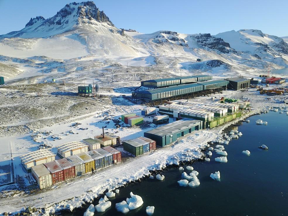 Oito anos depois do incêndio que destruiu a Estação Antártica Comandante Ferraz, base brasileira reabre para cientistas e pesquisadores. — Foto: Divulgação Marinha do Brasil