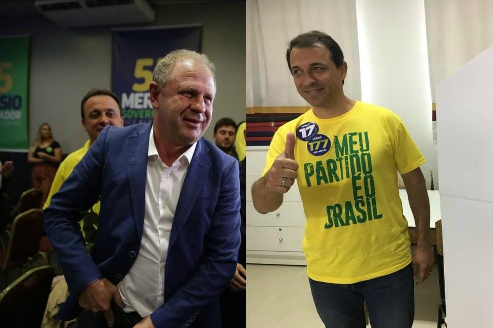 SC terá segundo turno para governador do estado entre Gelson Merísio (PSD) e Comandante Moisés (PSL) — Foto: Betina Humeres e Pedro Garcia/NSC TV