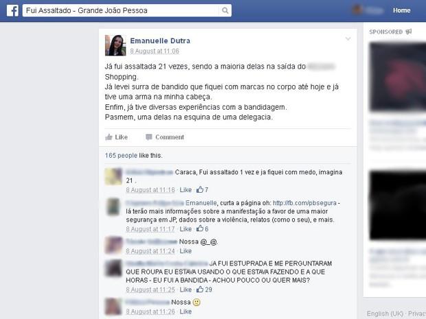 Jovem postou sobre os assaltos em um grupo de uma rede social que reúne pessoas vítimas de assaltos na capital paraibana (Foto: Reprodução/Facebook)