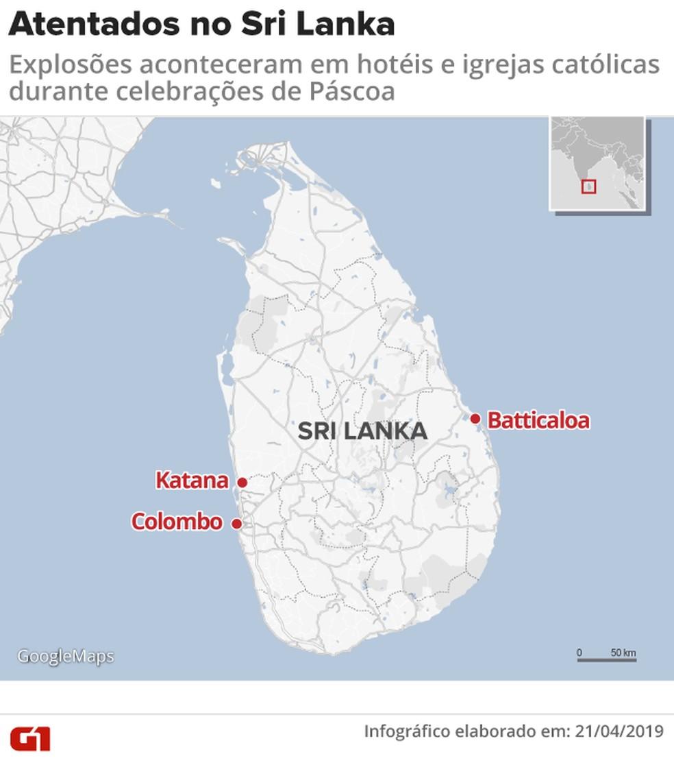 Explosões deixaram centenas de mortos no Sri Lanka durante comemorações de Páscoa — Foto: Rodrigo Cunha/G1