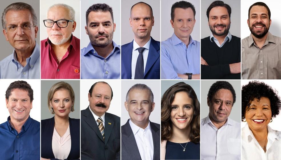 Montagem com os 14 candidatos à Prefeitura de São Paulo nas eleições 2020, em ordem alfabética — Foto: Divulgação