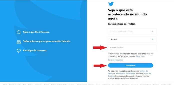 Para se inscrever no Twitter, basta preencher os dados pedidos (Foto: Reprodução/Clara Barreto)
