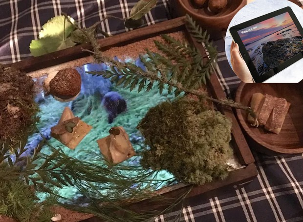Os alimentos são colocados sobre uma placa de acrílico. (Foto: Paul L./ Reprodução)