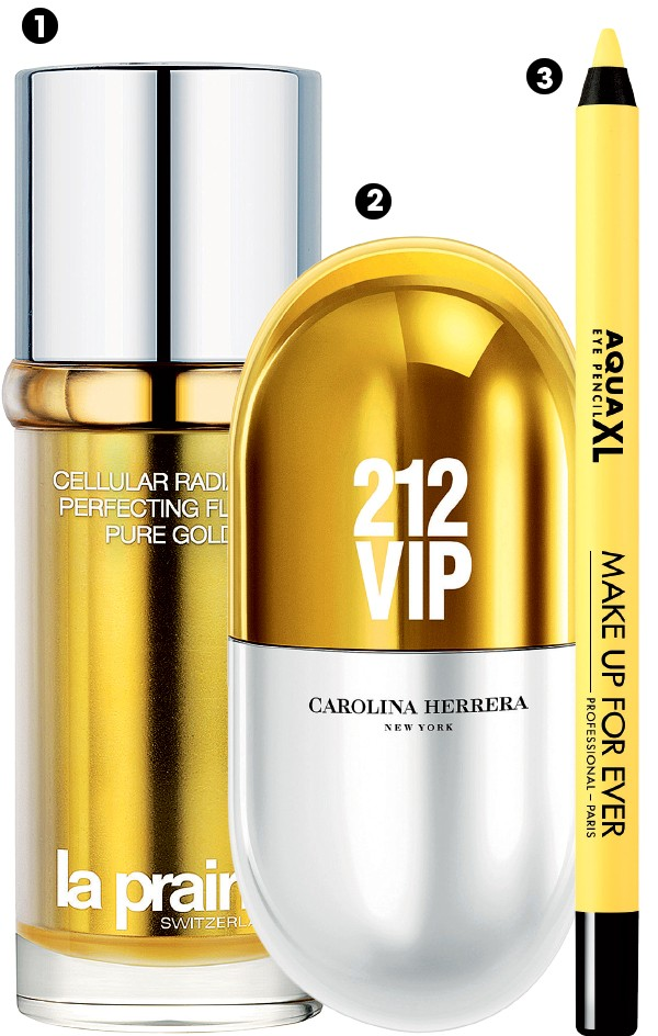 1. Fluido  iluminador Cellular Pure Gold, La Prairie, R$ 2.638  2. Perfume 212  New York Pills Vip, Carolina Herrera,  R$ 199 (20 ml)  3. Lápis para Olhos Aqua XL, Make Up For Ever, R$ 85  (Foto: Divulgação)