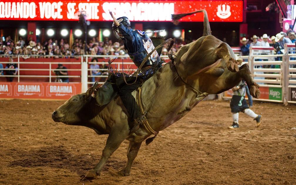 Montaria em touro na arena da Festa do Peão de Barretos 2017 (Foto: Érico Andrade/G1/Arquivo)