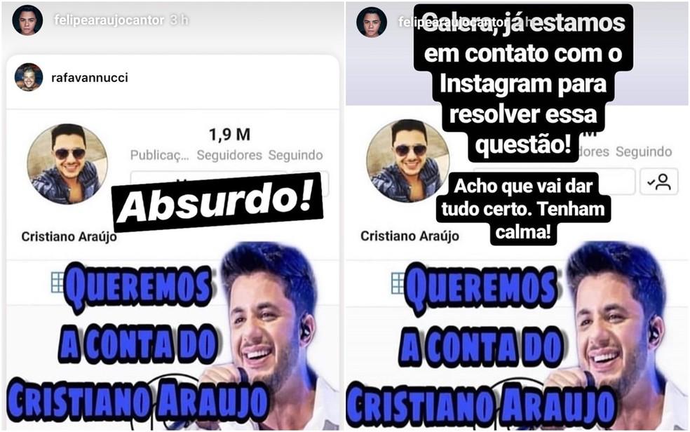 Felipe Araújo usou o próprio Instagram para pedir a reativação da conta do irmão — Foto: Reprodução/Instagram