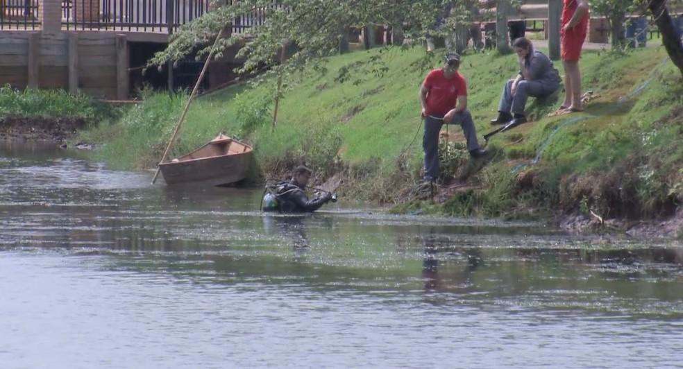 Bombeiros tiveram dificuldades porque o lago municipal de Tarumã apresentava baixa visibilidade e muitas algas — Foto: TV TEM/Reprodução
