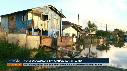 Nível do Rio Iguaçu sobe, e moradores de União da Vitória usam botes para sair de casa
