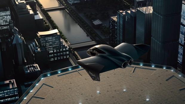Arte do protótipo do carro voador desenvolvido pela Porsche com a Boeing (Foto: Divulgação)