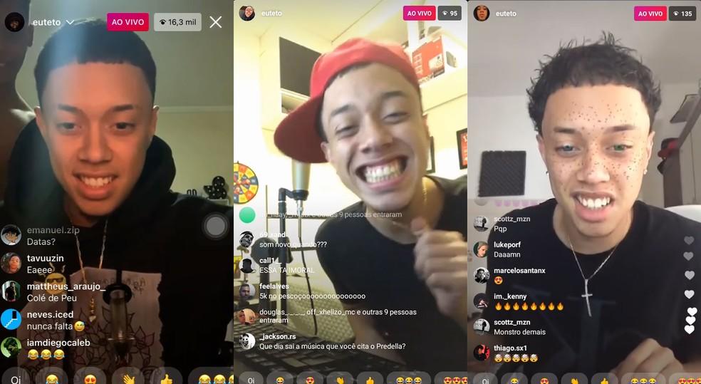 Teto começou fazendo lives na internet e mostrando as músicas que tinha feito em seu quarto — Foto: Reprodução