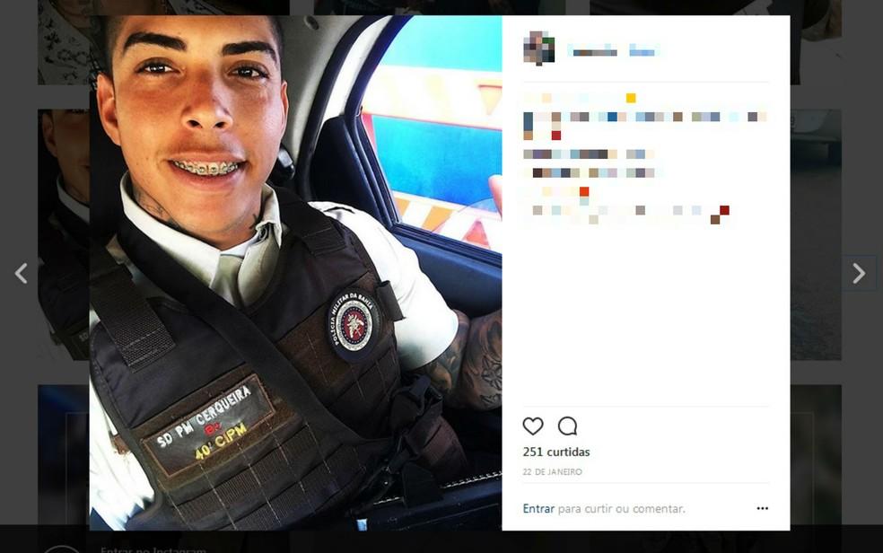 Soldado foi preso suspeito de integrar quadrilha de roubo de cargas em Salvador (Foto: Reprodução/Instagram)