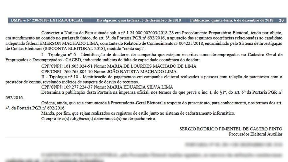 Publicação do procedimento consta no diário do Ministério Público Federal na Paraíba nesta quinta-feira — Foto: Reprodução