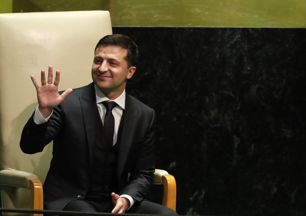 The President of Ukraine, Volodymyr Zelensky, just before addressing this Wednesday (25) to the UN General Assembly in New York. - Photo: Lucas Jackson / Reuters