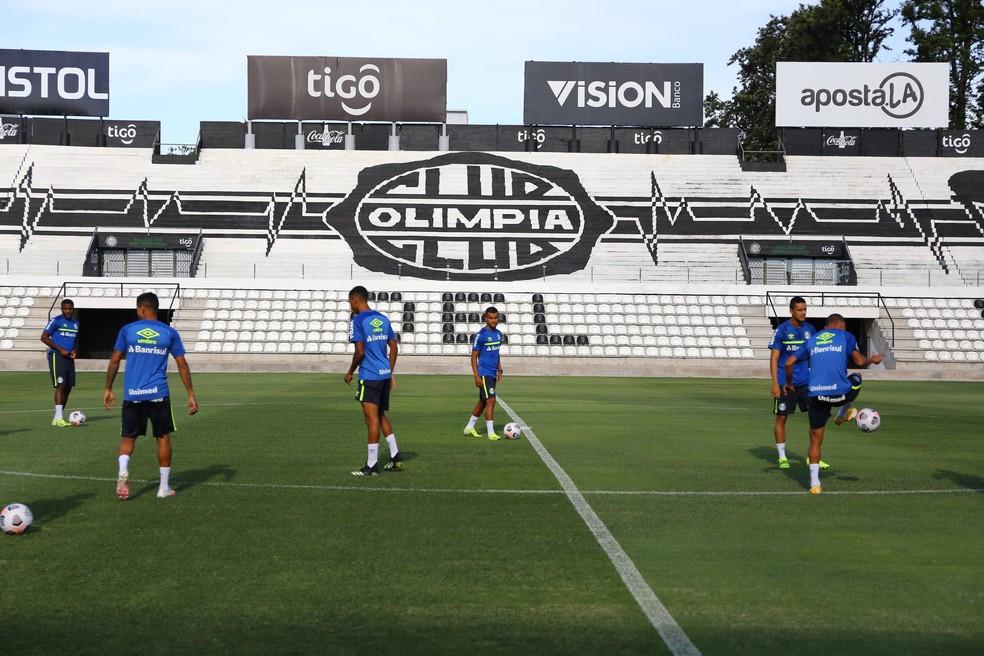 Treino do Grêmio no Paraguai — Foto: Lucas Uebel/Grêmio