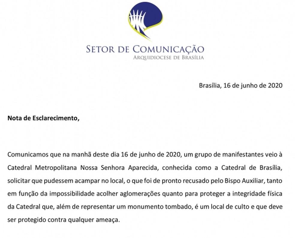 Nota da Arquidiocese de Brasília, após ameaças ao bispo, nesta terça-feira (16) — Foto: Arquidiocese de Brasília/ Reprodução