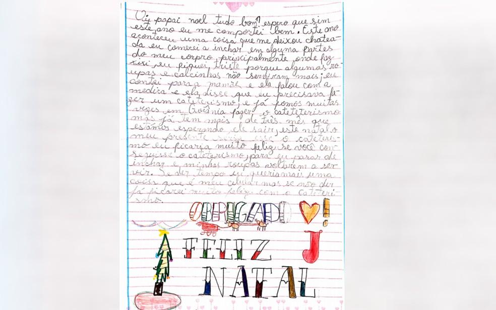Menina escreve carta pedindo cateterismo, em Cidade Ocidental — Foto: Reprodução/TV Anhanguera