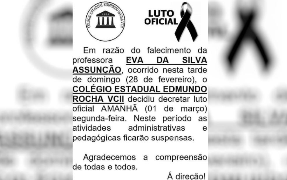 Colégio estadual decretou luto oficial e suspendeu atividades em razão de morte de professora por Covid-19, em Goiânia — Foto: Reprodução/Facebook