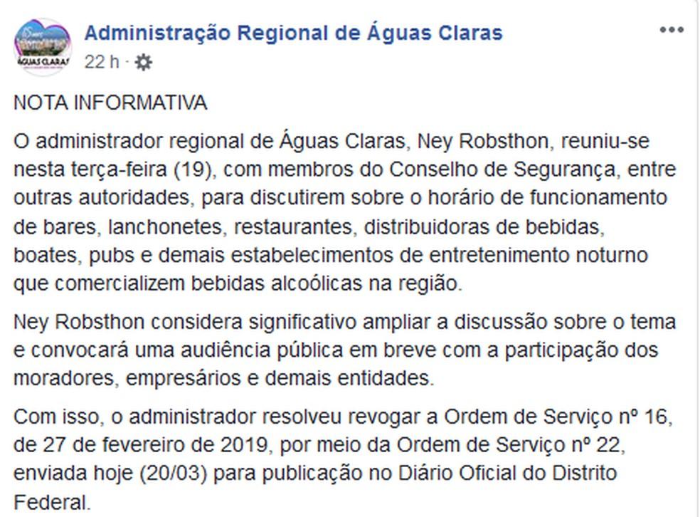Comunicado publicada nas redes sociais da Administração de Águas Claras — Foto: Facebook/Reprodução