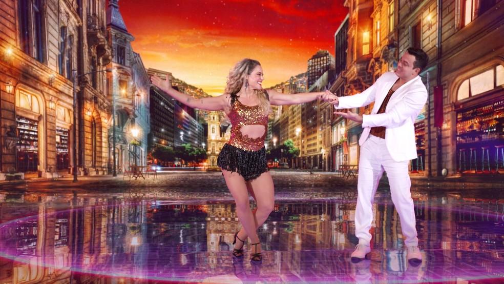 Paolla Oliveira e Leandro Azevedo dançam samba no 'Super Dança dos Famosos'  — Foto: Globo