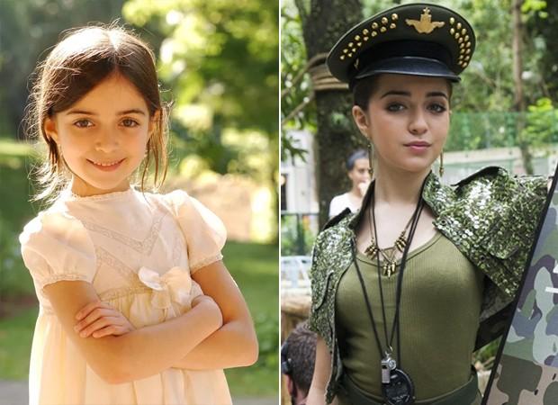 Anna Rita Cerqueira em Eterna Magia (2007), sua estreia na TV, e como Flaviana em Malhação (2013), seu papel de maior sucesso (Foto: Cynthia Salles/TV Globo)