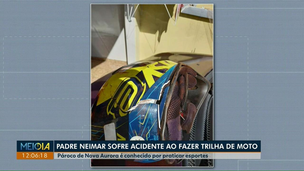 Padre Neimar sofre acidente ao fazer trilha de moto no interior de Nova Aurora