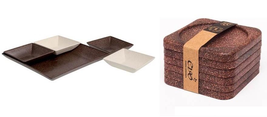 Kit de cozinha em madeira de reflorestamento | O kit com 6 descansos de copo e o jogo para petiscos, além de lindos, são sustentáveis, feitos com 55% de madeira de reflorestamento e 45% plástico | Da Evo Produtos Sustentáveis, descansos de copo R$20,45, e jogo para petiscos R$32,77.  (Foto: Divulgação)