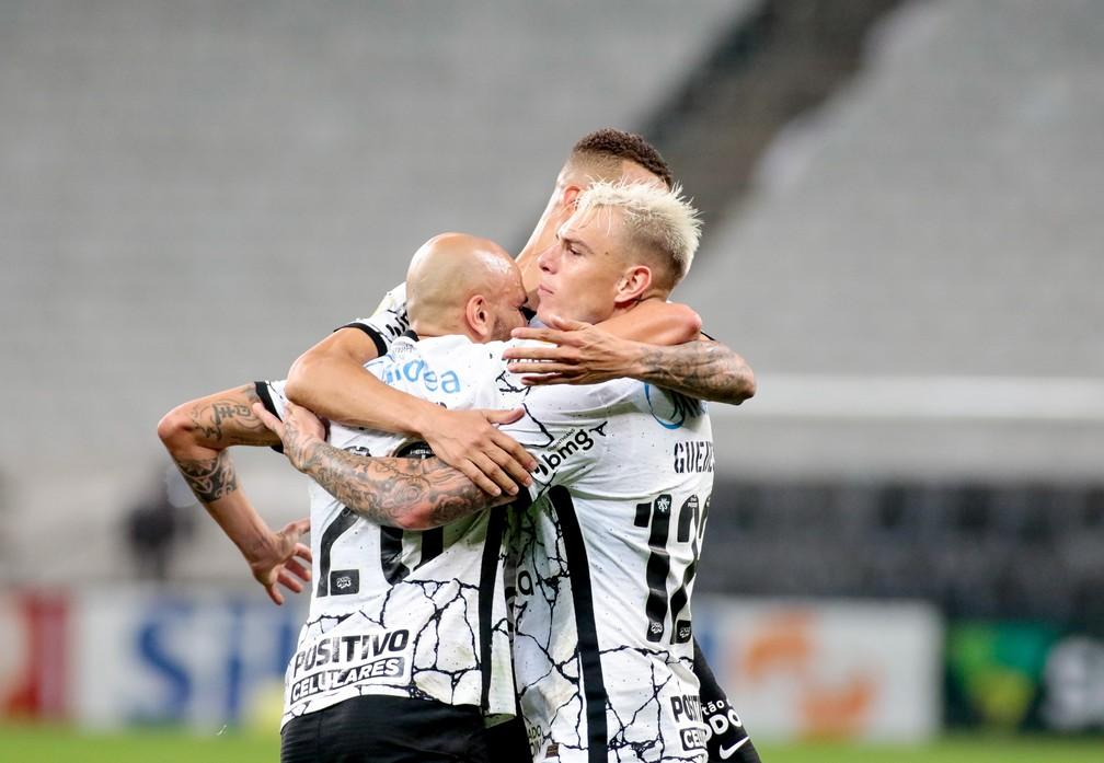 Róger Guedes comemora gol em Corinthians x Juventude — Foto: Rodrigo Coca/Agência Corinthians