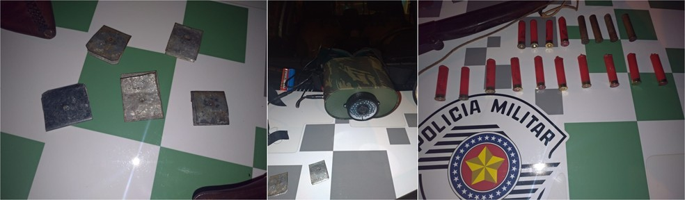 Segundo a Polícia Militar Ambiental, uma equipe fazia patrulhamento pela área quando encontrou os suspeitos munidos de armas de fogo — Foto: Polícia Militar Ambiental/Divulgação